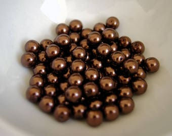 SET OF 10 4MM - CHOCOLATE BROWN ROUND GLASS BEADS DARK