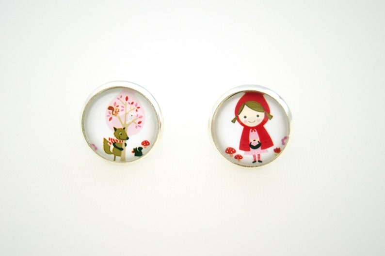 Earrings personalized chips little Red Riding Hood choose image 0