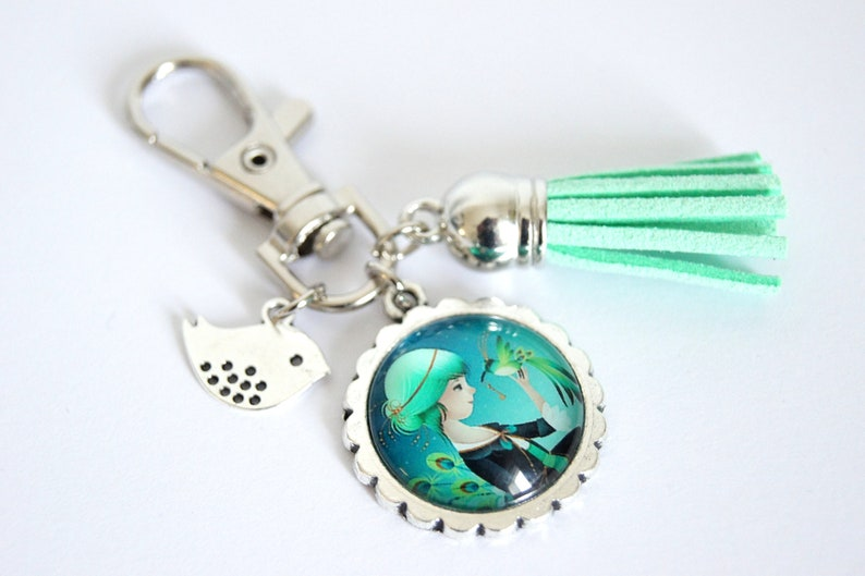 Personalized Keychain bag charm in nature pattern choice Colibri