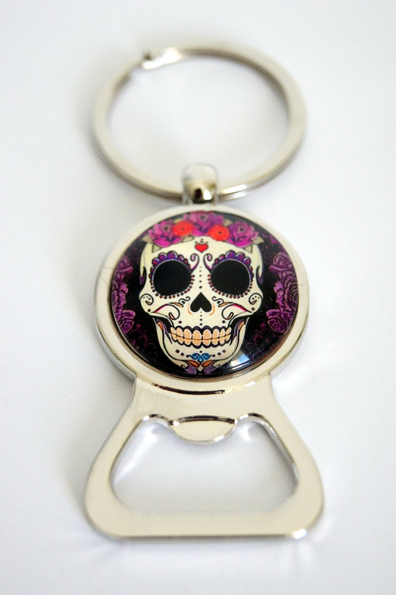 Keychain bottle opener personalized Calavera pattern choice image 0
