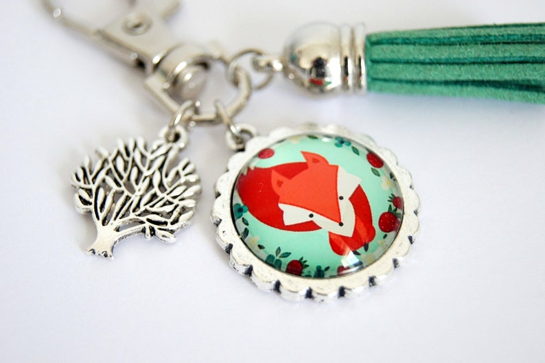 Personalized Keychain bag Fox forest jewelry image 0