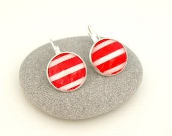 STRIPED RED - DO006 LEVERBACK EARRINGS