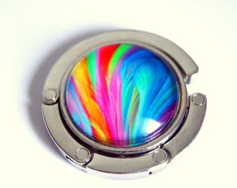 Bag hanger, multicolored feathers