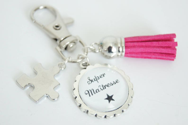 Super teacher bag charm key chain  hot pink image 0