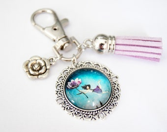 Customizable key ring, bag jewel, Poetic nature, model to choose from