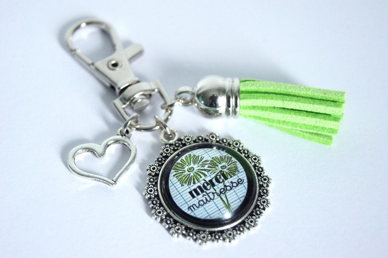 Personalized Keychain bag charm thank you teacher book image 0