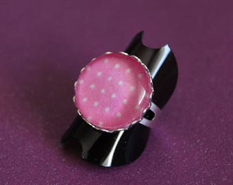 Light pink polka dot ring