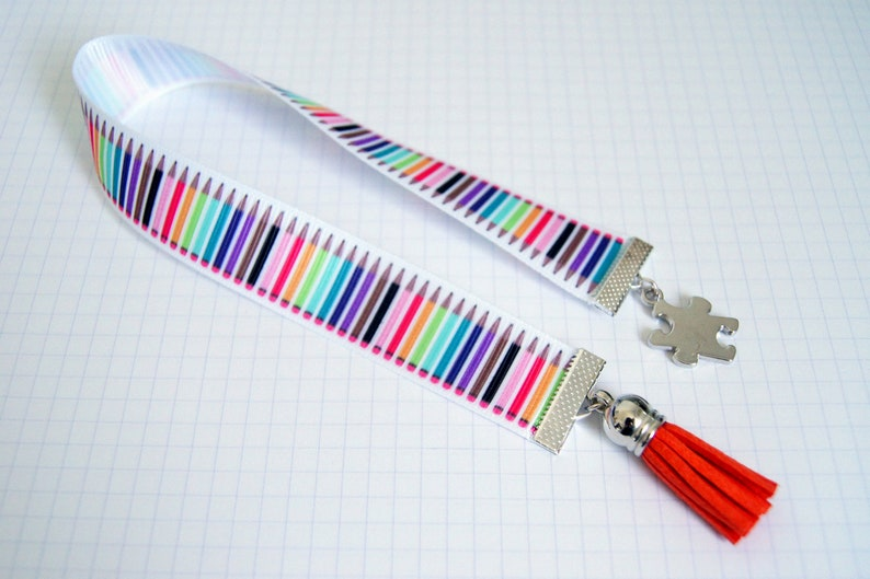 Personalized bookmarks Ribbon pencils gift idea or home image 0