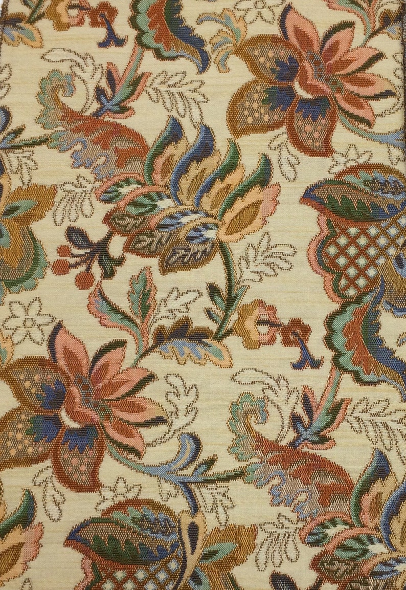 Printed Fabric Panel Make A Cushion Upholstery Craft Chinese Flowers