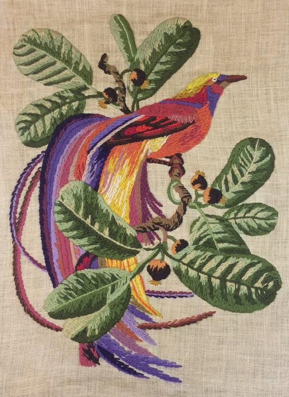 Tropical Bird Embroidery Crewel Wall Art Wool And Linen Hand Etsy