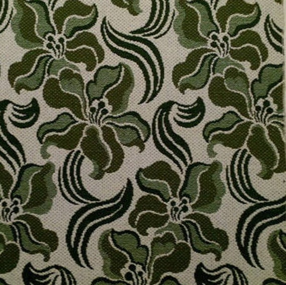 Mid Century Graphic Floral Upholstery Fabric Art Nouveau Style Etsy