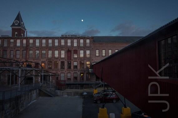 MassMOCA with moon, North Adams, Western Massachusetts