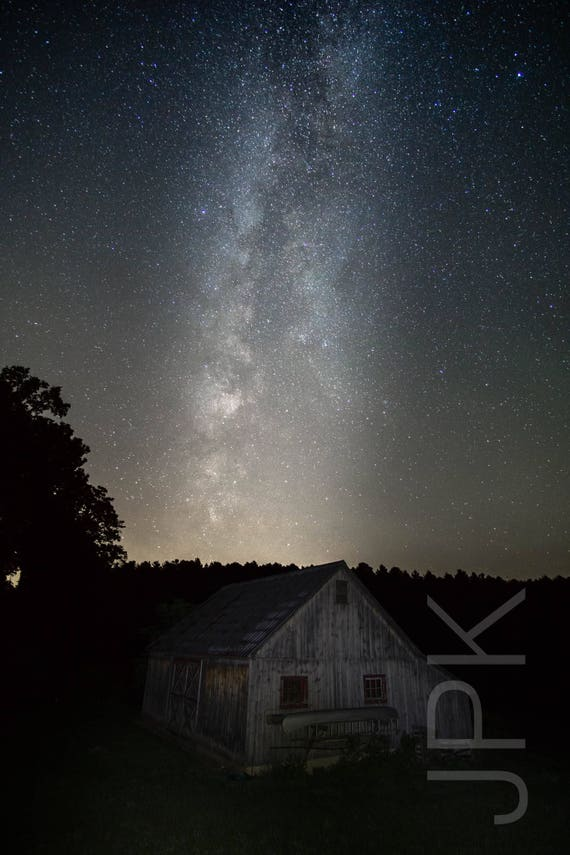 Milky Way and Barn, Late Summer, Western Massachusetts