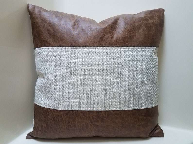 Mudcloth And Faux Leather Pillow Cover. Color Block Accent Pillows.  Farmhouse Home Decor. Designer Pillow Cover. Boho Throw Pillow Cover