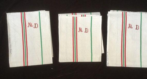 Tea Towel 3 Antique Handmade Tea Towels With Monogrammed Md Etsy