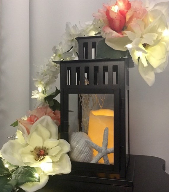 Simply Elegant Beach Wedding Lantern Centerpiece W Faux Floral Swag Led Fairy Lights Candle Shells Starfish And Faux Seaweed Fan Coral