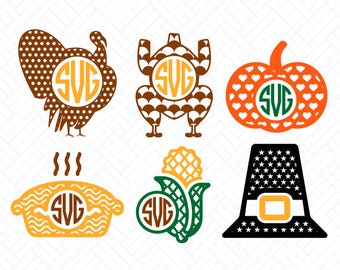 Thanksgiving SVG Files, Thanksgiving Monogram Frame, Cutting Files, Silhouette, Cricut Files, Layered Vector, dxf eps png jpg pdf, D/043