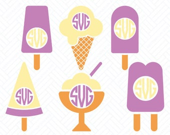 Ice Cream SVG Files, Ice Cream Monogram Frame, Cutting Files, Silhouette Files, Cricut Files, Layered Vector, dxf eps png jpg pdf, D/014