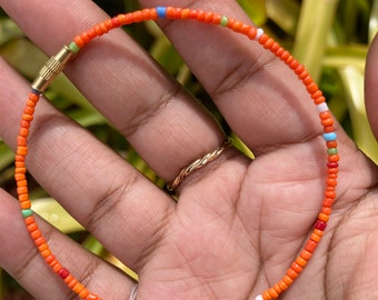 Orange with Rainbow Mix Screw on Anklet or Bracelet