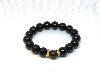 "Black Shiny Beads, Brown Bead, Gold Accents, Wood Bead Size 8"" Protection Bracelet"