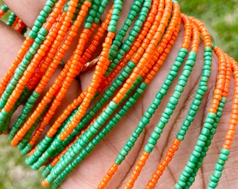 Orange & Green Color Block FAMU Removable Screw On Waist Beads