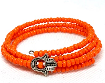 Orange Hamsa Hand Wrap Bracelet, Hand of Fatima Charm Bracelet, Adjustable, Spring Bracelet