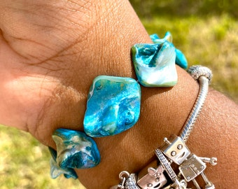 Aqua Natural Shells Bracelet