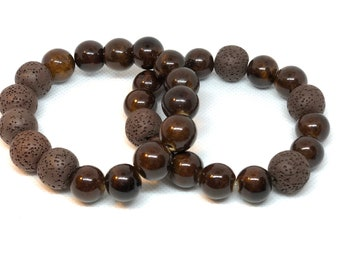 Brown Lava Bead Bracelet Size 8""