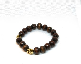 Brown Wood Beads with Gold Accents Bracelet
