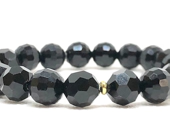 Black Bracelet, Stretch Bracelet, Unisex, Stacking Bracelet, Jewelry, Bracelets, Beaded Bracelets