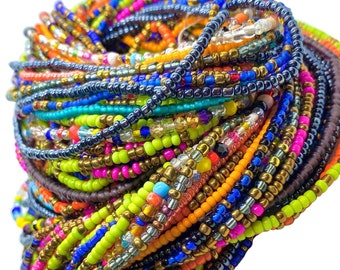 3 for 20.00 Assorted Color Tie On Waist Beads Strands, 3 for 1, African Waist Beads, Belly Beads, African Jewelry, Body Jewelry