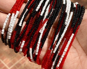 Red, White & Black Trinidad Color Block Removable Screw On Waist Beads