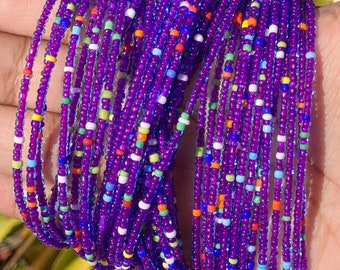 Purple with Rainbow Mix Removable Screw On Waist Beads