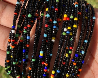 Black with Rainbow Mix Up Removable Screw On Waist Beads