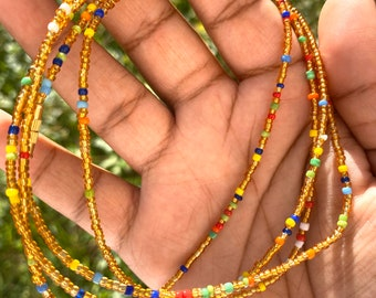 Gold and Rainbow Traditional Screw On Waist Beads