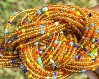 Gold and Rainbow Removable Screw On Waist Beads