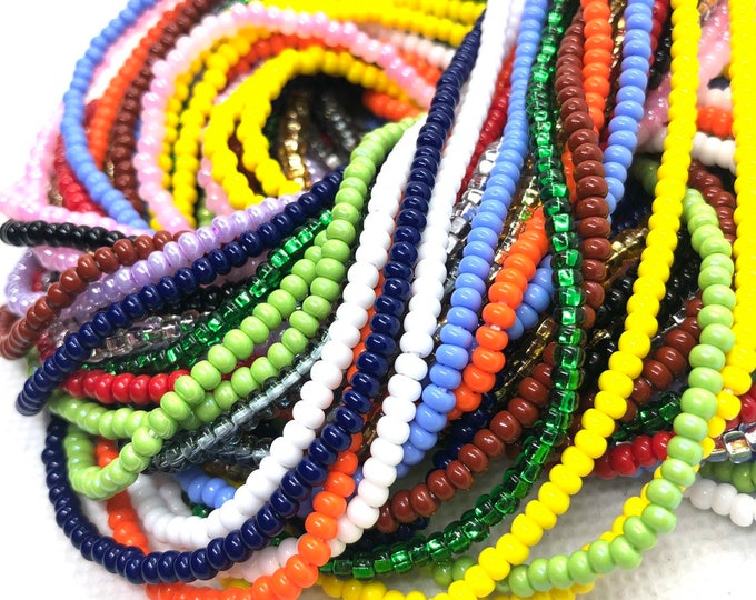 Featured listing image: Solid Color Traditional Tie On Waist Beads, Waist Beads, Belly Beads, Belly Chain, Body Jewelry, African Waist Beads, Plus Size Waist Beads