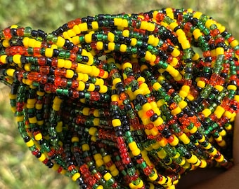 Rasta Traditional Screw On Waist Beads, African Waist Beads, Belly Beads, African Jewelry, Body Jewelry