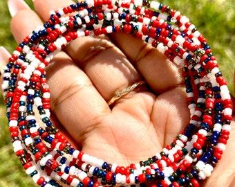 USA Flag Remix, Iridescent, White & Red Beaded Bracelet Set
