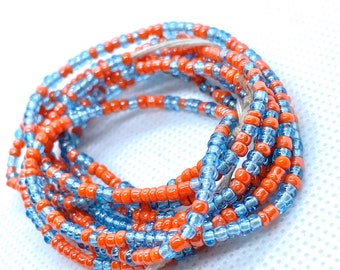 Orange and Blue Tie On Waist Beads, Waist Beads, Belly Beads, Belly Chain, Body Jewelry