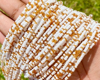 White & Gold Removable Screw On Waist Beads