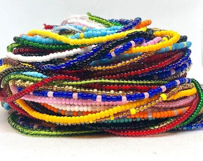 Featured listing image: Traditional Tie On Waist Beads, Waist Beads, Belly Beads, Belly Chain, Body Jewelry