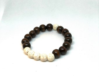 Brown Wood & Lava Bead Bracelet, Brown Beads, Off-White Beads Size 8""