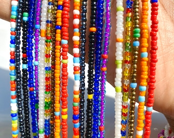 RAINBOW MIXES Traditional Screw On Waist Beads, African Waist Beads, Belly Beads, African Jewelry, Body Jewelry