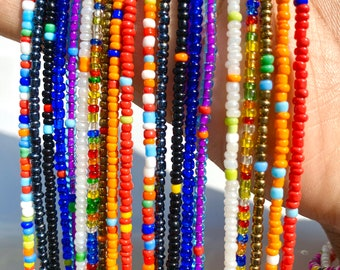 RAINBOW MIXES Traditional Screw On Waist Beads, African Waist Beads, Belly Beads, Weightloss Tracker, Feminine Jewelry, Waist Shaper