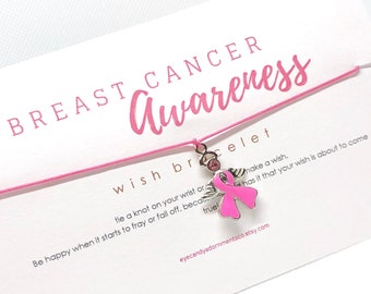 Pink Ribbon Awareness Bracelet, Breast Cancer Awareness, Wish Bracelet, Inspiration Bracelet, Party Favors, Cancer Awareness