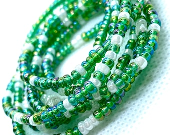 Iridescent Green and Pearl White Tie On Waist Beads, Waist Beads, Belly Beads, Belly Chain, Body Jewelry
