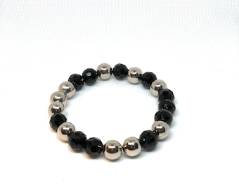 """Black & Silver Bracelet, Size 8"""""""