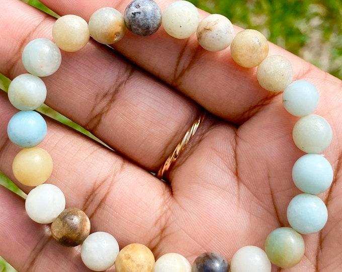 Featured listing image: Amazonite Semi Precious Stretch Beaded Bracelet