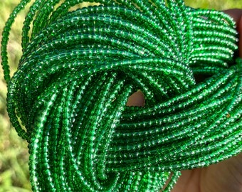 Glass Green Traditional Screw On Waist Beads, African Waist Beads, Belly Beads, African Jewelry, Body Jewelry